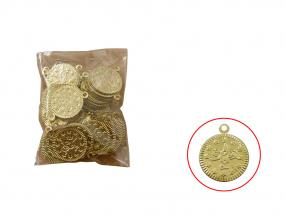 GOLD COIN - 19 mm, METAL, PACKET -100 pcs