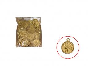 GOLD COIN - 16 mm, PLASTIC, PACKET -100 pcs