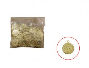 GOLD COIN - 11 mm, METAL, PACKET -100 pcs
